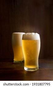 Beers in dark wood background
