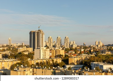 BEER-SHEBA, ISRAEL - JAN 19, 2019: Old district with the tall building under construction
