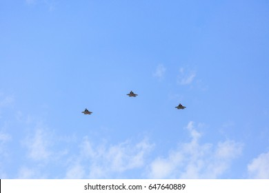 BEER-SHEBA, ISRAEL - may, 02, 2017: Three F35i israeli air force Independence Day