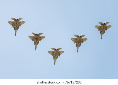 BEER-SHEBA, ISRAEL - may, 02, 2017: Group of five israeli air force F15 at Independence Day
