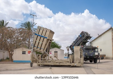 BEER-SHEVA, HATZERIM, ISRAEL - MAY 9, 2019: Iron Dome Air Defence Missile System and MIM-104 Patriot, presented at Hatzerim Israel Airforce Museum