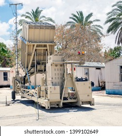 BEER-SHEvA, HATZERIM, ISRAEL - MAY 9, 2019: Large panoramic view of Iron Dome Air Defence Missile System presented at Hatzerim Israel Airforce Museum