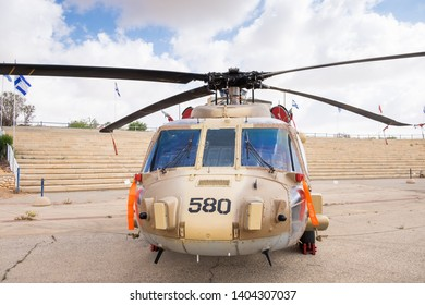 BEER-SHEVA, HATZERIM, ISRAEL - MAY 9, 2019: Helicopter Sikorsky S-70A-9 Yanshuf 3 displayed at the Israeli Air Force Museum