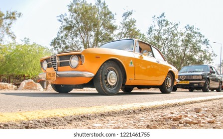 BEER-SHEVA, ISRAEL - APRIL 22, 2011: Yellow vitage Alfa Romeo Giulia Sprint Bertone displayed at the Israeli Air Force Museum