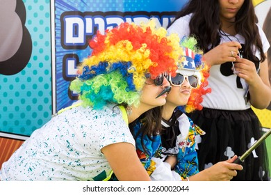 BEER-SHEVA, ISRAEL - MARCH 3, 2018: Happy jewish family celebrate the Purim holiday at park in Beer-Sheva