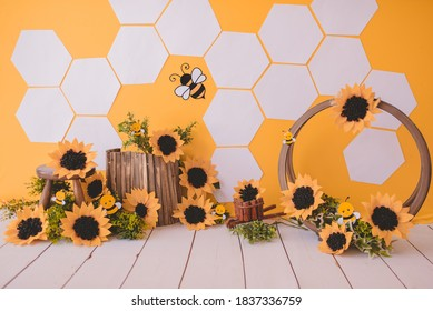 Bees background with sunflower for photography studio - Shutterstock ID 1837336759