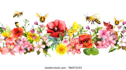 Bees, meadow flowers, summer grasses, wild leaves. Repeating floral horizontal border. Watercolor