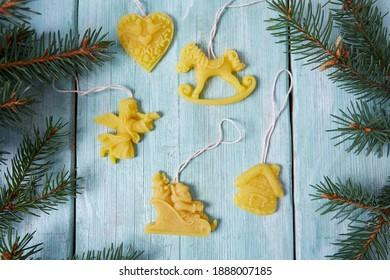Bees Wax Hanging Christmas Ornaments