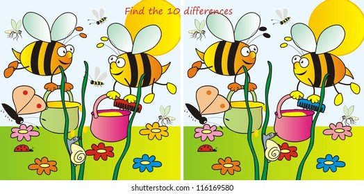 bees-find the ten differences
