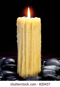 beeswax candle dripping