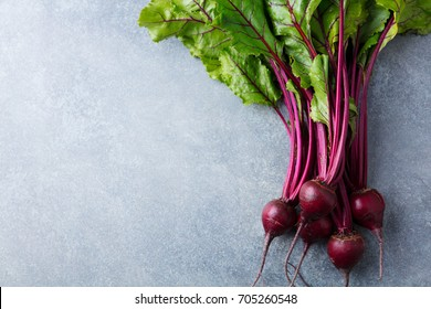 Beet, beetroot bunch on grey stone background. Copy space. Top view.