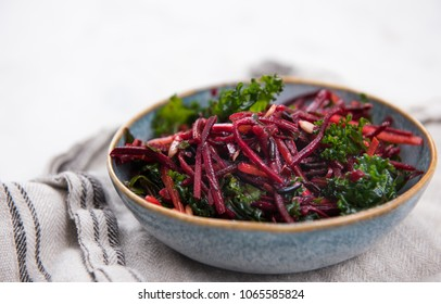 Beet and Kale salad with Carrots and Olive Oil