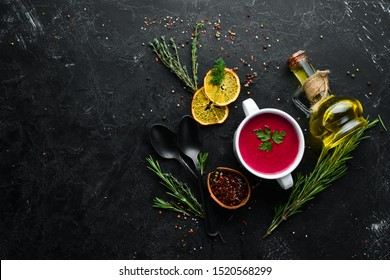 Beet soup. Borsch. Dishes, food. Top view. Free space for your text.