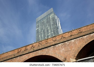 Beetham Tower, aka Hilton Tower, seen from Deansgate on Rochdale Canal Towpath, Manchester, Greater Manchester, England - 30th October 2013
