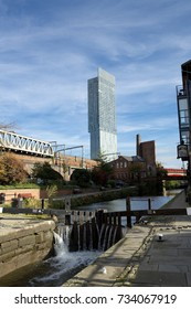 Beetham Tower, aka Hilton Tower, seen from Rochdale Canal Towpath, Manchester, Greater Manchester, England - 30th October 2013