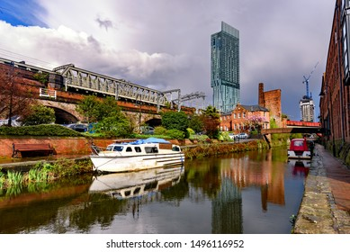 Beetham tower reflection in Rochdale canal ,Manchester City