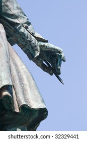 Beethoven Monument in Bonn. Focusing the right hand, holding a pencil.