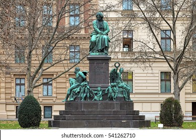 Beethoven monument on the Beethovenplatz square in Vienna, Austria. The monument was unveiled in 1880.