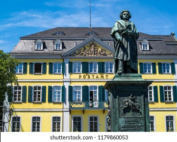 Beethoven Monument on the Muensterplatz, Minster Square in front of the former Post Office in Bonn, Germany