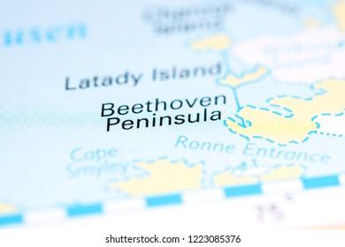 Beethoven Peninsula. Antarctica on a map
