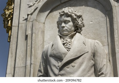 Beethoven statue as part of the monument dedicated to German composers at the Tiergarten at Berlin