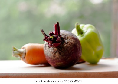 Beetroot, bell pepper and carrot closeup