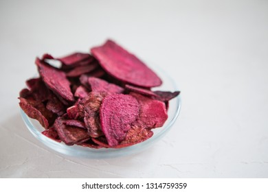 beetroot chips.Dried beetroot chips isolated on white background.