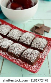 Beetroot chocolate brownie dusted with powdered sugar