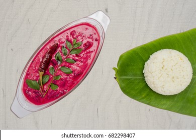 Beetroot Curry or  Pachadi is a traditional South Indian side-dish similar to North Indian Raita, made of Beetroot, Yogurt, green chillies,ginger and curry leaves.served with rice,  idly, dosa.