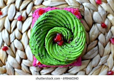 Beetroot hummus toast with avocado rose