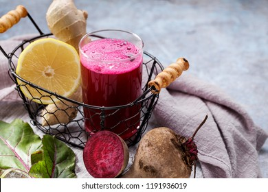 Beetroot juice with ginger and lemon. Colon cleansing smoothie