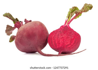 Beetroot with leaves isolated on white.