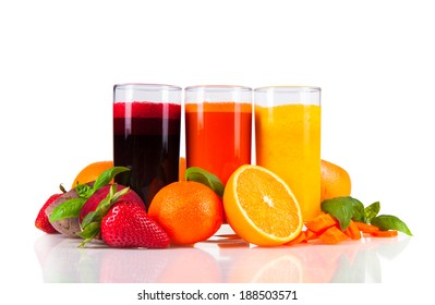 Beetroot, orange and carrot juice isolated on white background. Healthy drinks with fresh fruits.
