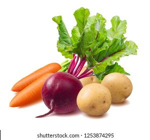 Beetroot, potato and carrot isolated on white background. Vinegret ingredients. Package design element with clipping path.