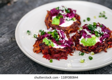 Beetroot rosti with horseradish, cream and chives