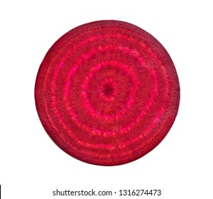 Beetroot slices isolated on white background. top view