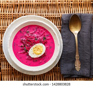 Beetroot soup. Holodnik. Cold summer vegetarian dish of bees, cucumbers, potatoes, eggs, green onions, dill and parsley with kefir or sour cream. Traditional Lithuanian (ukrainian, russian) cuisine