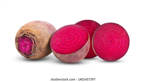 beetroot vegetables and a half  isolated on white background. full depth of field