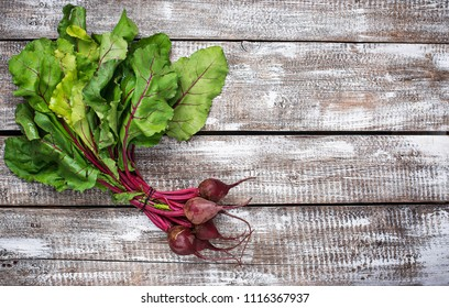 Beetroots on a wooden background. Top view