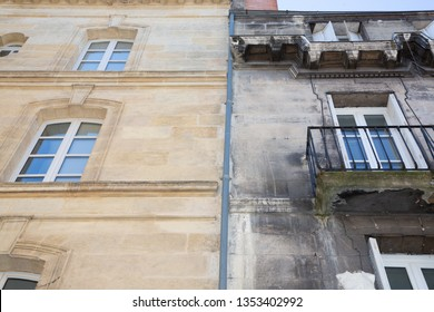 before and after between a wash cleaned house facade and a dirty one in a city center