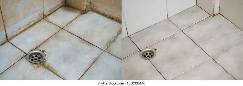 Before and after cleaning the bathroom. Dirty.