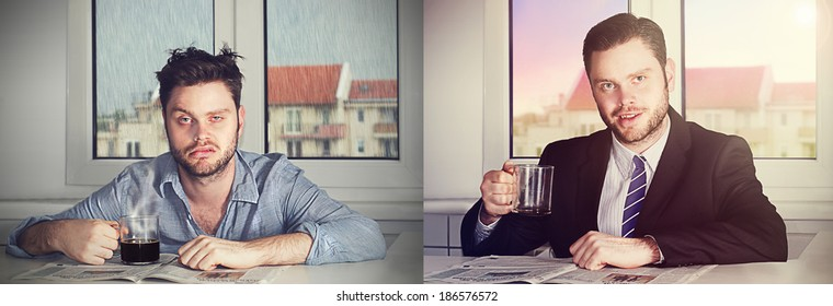 before and after coffee