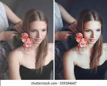 Before and after example of photo edit, color correction of attractive young pretty woman