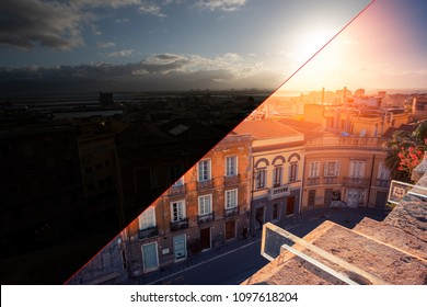 Before and after example of photo editing process, color correction, brightness and saturation of a sunset over the city