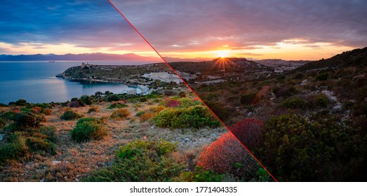 Before and after example of photo editing process, color correction,brightness and saturation of generic long exposure landscape at sunset.