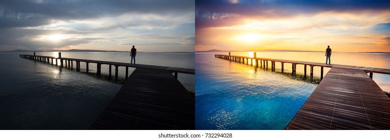 Before and after example of photo editing process, color correction,brightness and saturation of man silhouette standing on wooden pier at sunset