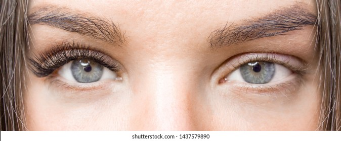 Before and after eyelash extension procedure. Woman Eyes with Long false Eyelashes. Close up macro shot - Beauty and fashion concept
