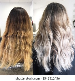 Before and after hair color in cool tones