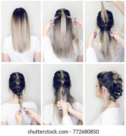 Before and after hairstyle tutorial. Hairdresser making amazing hairstyles step by step. DIY. Fishbone hair procedure. How to make. Balayage and ombre hairstyle.