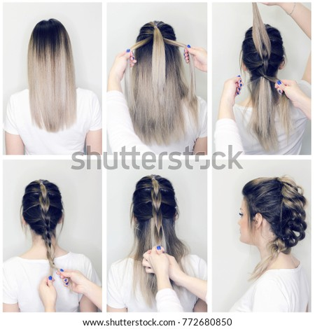 Before After Hairstyle Tutorial Hairdresser Making Stock Photo (Edit ...
